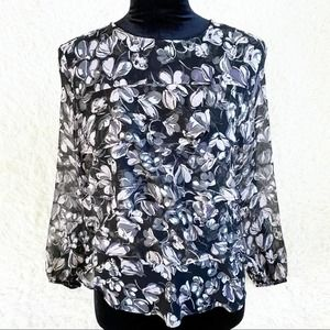 LOFT Outlet Black & Pink Floral Tiered Ruffle Top